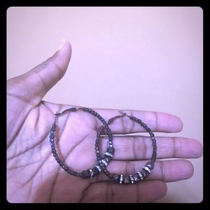 Beaded Hoops with Bling